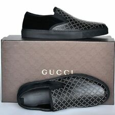 GUCCI New sz 6 G - US 6.5 Authentic Designer Mens Diamante Loafers Shoes black