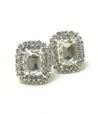 F2 Clear Glass Deco Clip-on EARRINGS Crystal Rhinestone NEW