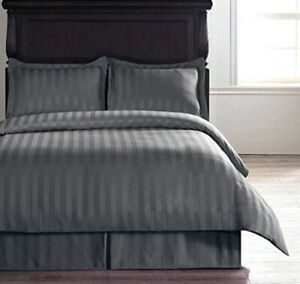 600 TC Grey Luxury Soft 100% Egyptian Cotton Queen Size Flat Bed Sheet Set