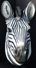 "SAFARI WILD ZEBRA   Small Zebra Head Hanging   TOTEM Statue Figurine  H9.5"""