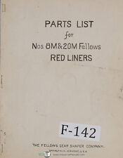 Fellows Parts List Nos 8M 20M Red Liners Machine Manual