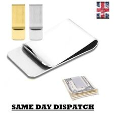 Stainless Steel Silver Gold Money Clip Holder Cash Gift Mens Wedding Favour UK