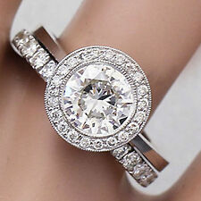 14K SOLID WHITE GOLD ROUND CUT DIAMOND ENGAGEMENT RING AND BAND BEZEL 2.00CT