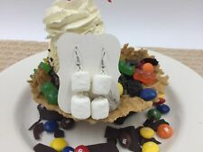Fake Plastic MARSHMALLOW EARRINGS Faux Dessert Display Prop Food Jewelry Decor