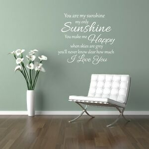 You are my sunshine my only sunshine wall art sticker Home bedroom lounge diy