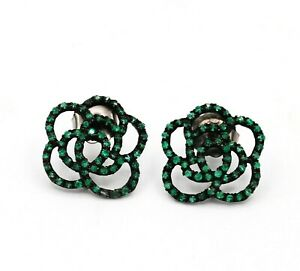 Antique Victorian Emerald Gemstone 925 Solid Sterling Silver Earring Jewelry