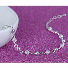 Silver Plated Crystal Sexy Ankle Chain Exquisite Beads Anklet Women Foot Jewelry