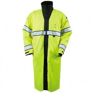 "New Blauer B. Dry Reversible Style 733 Hi-Vis Yellow/Black 49"" Rain Coat X-Small"