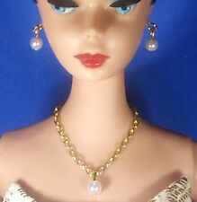 Dreamz WHITE DROP PEARL NECKLACE with EARRINGS Barbie Doll Vintage REPRO Jewelry