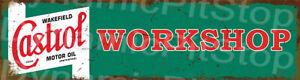 30x8cm Castrol Workshop Rustic Door Tin Sign or Decal, Man Cave, Garage, Bar