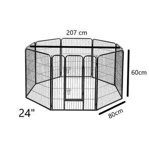 24 inch 8 Panel Pet Dog Playpen Puppy Exercise Cage Enclosure Play Pen 60x80cm