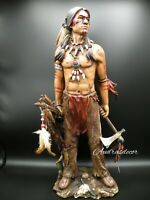 """Native American Indian Brave w/ Tomahawk Hand-Painted Resin Statue 19"""" Tall"""