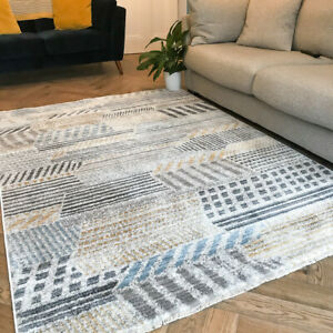 Yellow Geometric Rugs | Grey Blue Modern Living Room Rug | Long Hallway Runners
