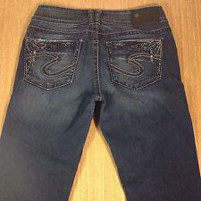 SILVER Jeans SUKI STRAIGHT 27x33 Darker Blue Distressed  *XLNT EUC*  J021017