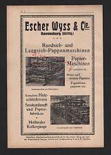 RAVENSBURG, Werbung 1929, Escher Wyss & Cie. Rundsieb-Langsieb-Pappen-Maschinen