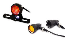 Matt Black Studded Custom Retro Motorbike LED Stop Tail Light & Indicator Kit