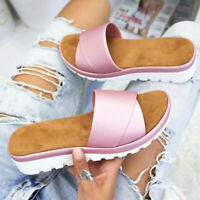 New Womens Wedge Slipper Mules Ladies Open Toe Casual Sandals Slip On Shoes Size
