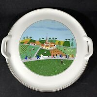 """Villeroy & Boch Design Naif 12"""" Round Serving Tray Cake Plate w Handles"""