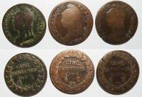 lot de 3 monnaies de 5 Centimes Bronze Dupré  ( 039 )