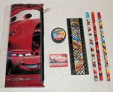 Disney Cars Lightning McQueen Zippered Pencil Bag and School Supplies