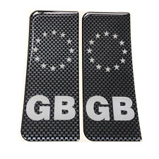 2x GB White Print Brickwork Carbon Gel Domed Number Plate Decals 107x42mm