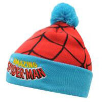 MARVEL COMICS SPIDERMAN BONNET À POMPON CALOTTE TAILLE/ÂGE 5-10 AN