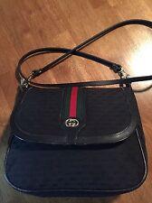 Vintage Gucci GG Monogram Red Green Stripe Black print Gucci Cross Body Handbag