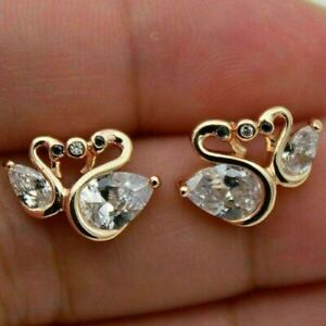 Exquisite Swan 925 Silver Women White Sapphire Stud Earring Wedding Jewelry Gift