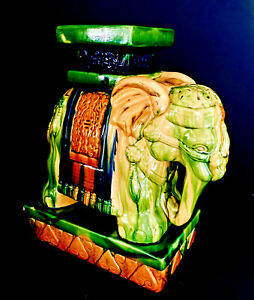 Vintage Vietnamese Majolica Glazed Ceramic Elephant Plant Stand or Side Table