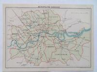 "LONDON METROPOLITAN BOROUGHS VINTAGE 1929 BARTHOLOMEWS MAP - 9x6"""