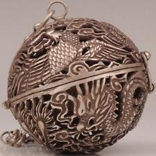 Antique Tibet Silver Pendant Ball Incense Burner Hollow Dragon And Phoenix  1
