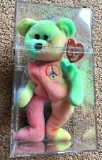 Ty Beanie Babies Peace Retired 1996 In Protective Clear Case