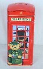 HARRODS Knightsbridge Tin Teddy Bear Telephone Kiosk Money Box United Kingdom