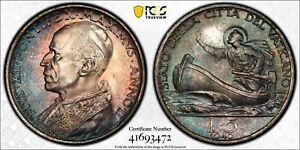 MS66 1940 Vatican City Anno II Silver 5 Lire, PCGS Secure- Pretty Toned