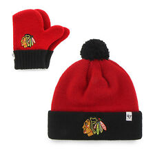 Infant NHL Chicago Blackhawks Embroidered Pom Knit Hat and Mitten Set by '47