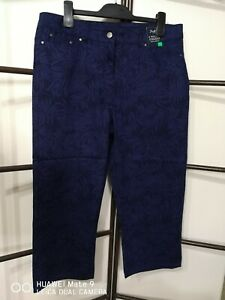 Size 14 Navy Palm Print Crop Jeans NEW WITH TAGS RRP $50