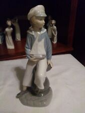 """Lladro, 'Boy with Yacht,' 9,"""" Porcelain Figurine #4810, Mint - Fast Shipping"""