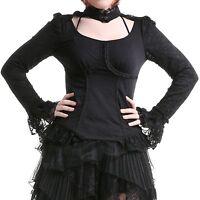 Punk Rave Elegant Black Lace Long Sleeve High Collar Top Gothic Victorian T-368