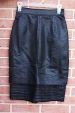 Womens La Nouvelle RENAISSANCE Black 100% Genuine Leather Skirt Size 6 RARE!