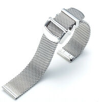 Premium Solid Mesh Stainless Steel Bracelets Watch Bands Deployment Buckle