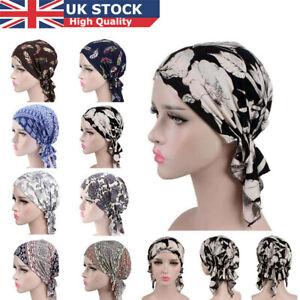 Cotton Floral Chemo Cap Muslim Turban Headwear Beanie Head Scarf Cancer Hat UK