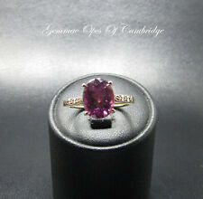 9K gold 9ct Gold Amethyst and Champagne Diamond Ring Size N 2.47g US Size 6 3/4