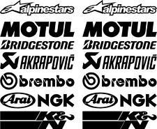 16 X Black Belly Pan Fairing Sponsor Logo Decals, Stickers Colour Choice 100mm