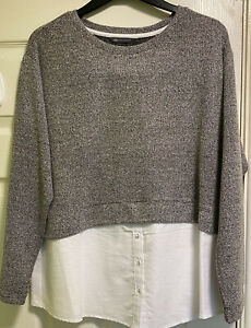 M&S Collection Womens Grey Mix Jumper With Mock Shirt UK Size 18 BNWOT
