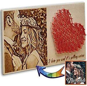 Personalized Wood Burned Photo Portrait Pyrography Wedding gift Engagement gift