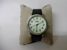 Limit mens silver tone quartz watch large round dial glow face with black strap