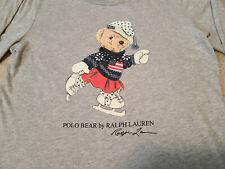 Polo Ralph Lauren Women's Ice Skating Polo Bear Graphic Long Sleeve T-Shirt Xl