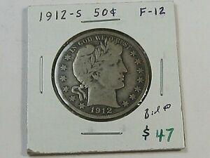 FINE 1912-s Barber Half Dollar w #36