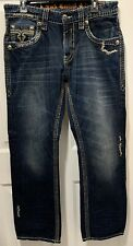 Mens Rock Revival Landon Straight Jeans Size 34 x 32 Blue