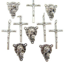 Set of 10 Rosary Making Cross Crucifix & Madonna Child Mary Centerpiece Parts